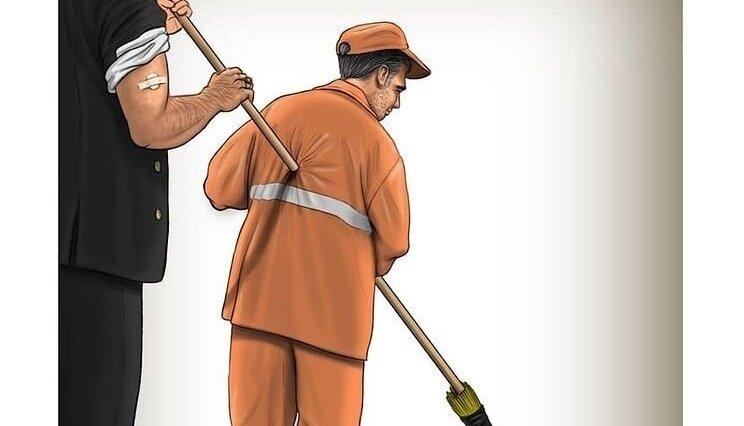 خدمت مدیران شهرداری به پاکبانان! + عکس