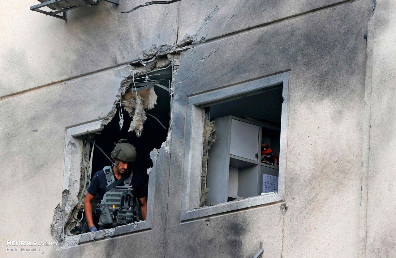 خسارات موشک های فلسطینی در شهر اشغالی عسقلان + عکس