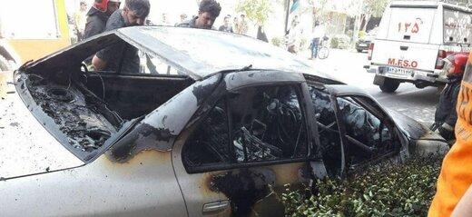 قابهای هولناک از انفجار گاز پیکنیکی در یک خودرو در مشهد+ عکس