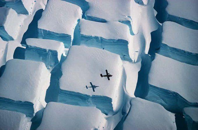 ترکهای عظیم و منظم یخهای اقیانوس منجمد شمالی+ عکس