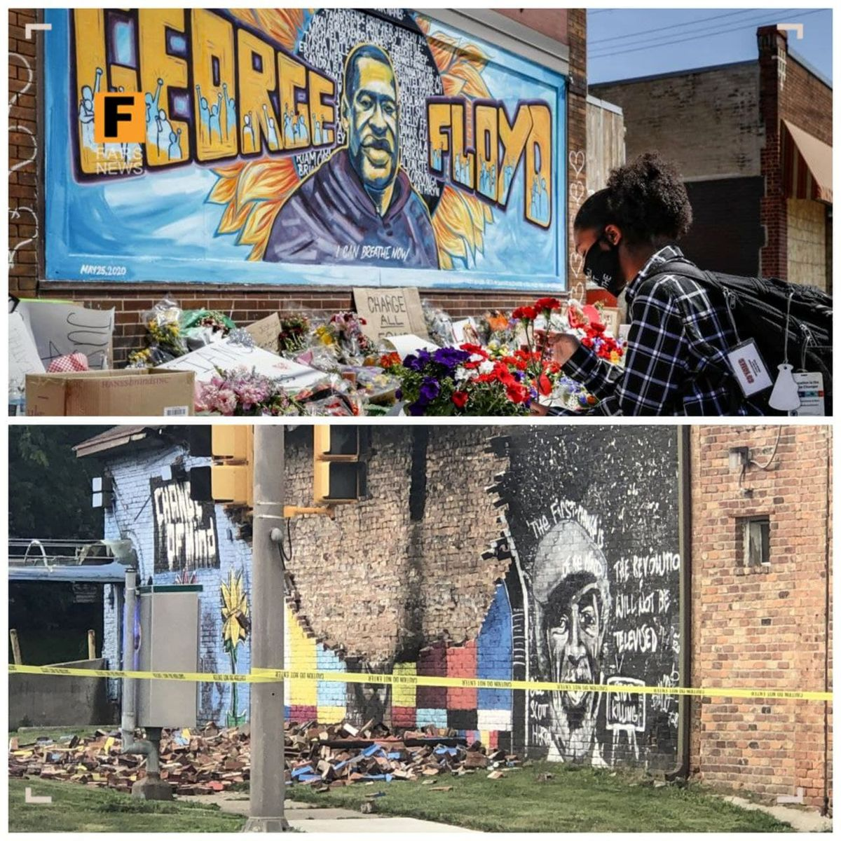 تخریب عجیب نقاشی دیواری جورج فلوید +عکس