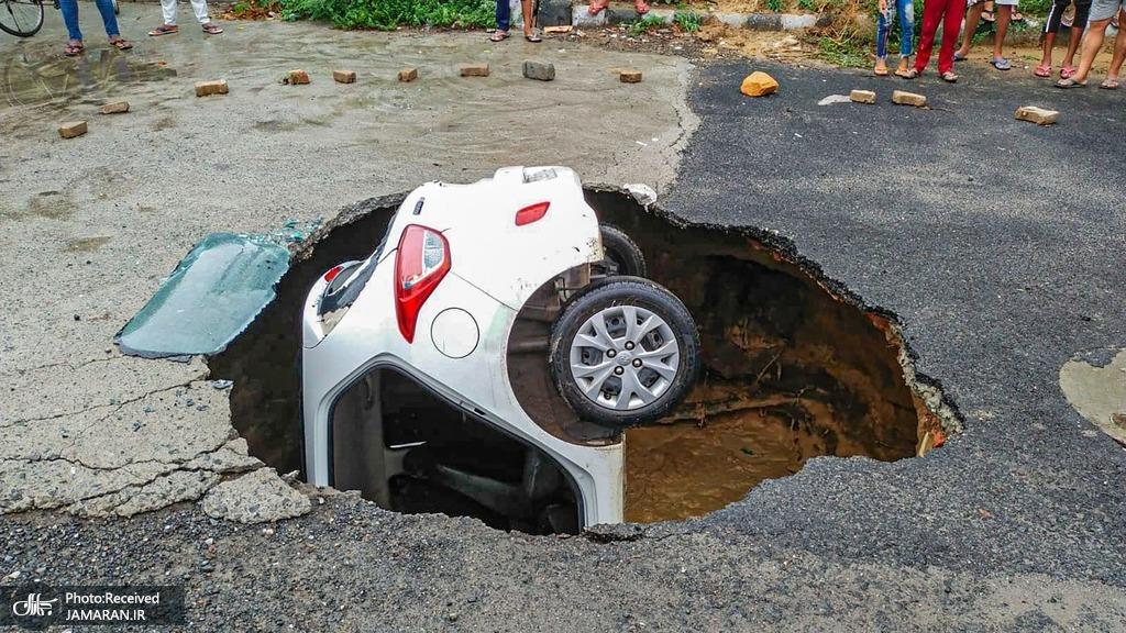 زمین این خودرو را بلعید! + عکس