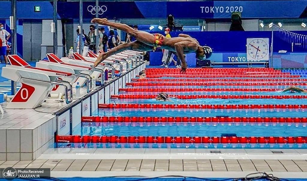 شناگران در یک جلسه تمرینی پیش از بازی های المپیک توکیو + عکس