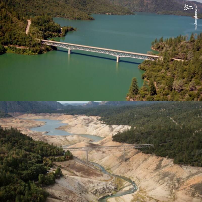 خشک شدن دریاچه ارویل در شمال کالیفرنیا + عکس