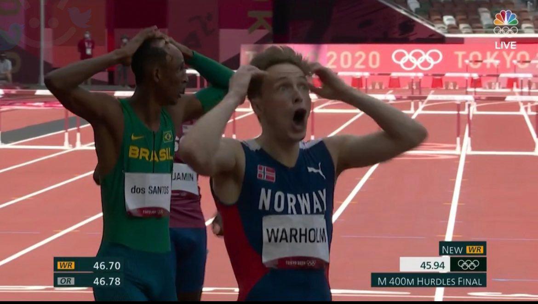 لحظه جالب رکورد شکنی ورزشکار نروژی در دومیدانی + عکس