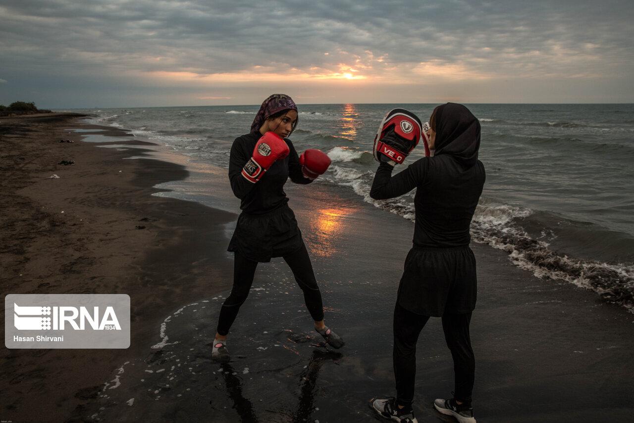 دختران بوکسور ایرانی در کنار ساحل + عکس