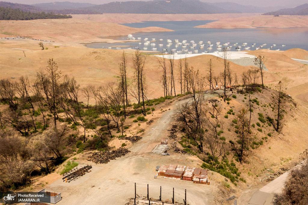 خشک شدن دریاچه اوروویل در کالیفرنیا + عکس