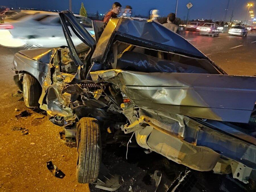تصادف وحشتناک در جاده ورامین و نجات معجزهآسای سرنشینان+ عکس