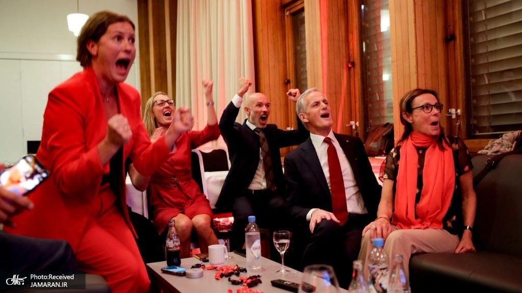 خوشحالی حزب کارگر نروژ پس از پیروزی + عکس