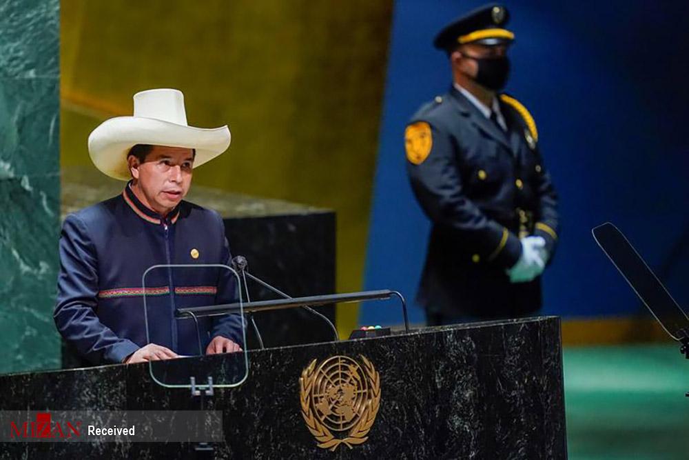 کلاه عجیب رئیس جمهور پرو در سخنرانی سازمان ملل! + عکس