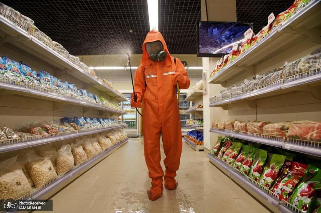 نحوه ضد عفونی فروشگاهی در پیونگ یانگ کره شمالی + عکس