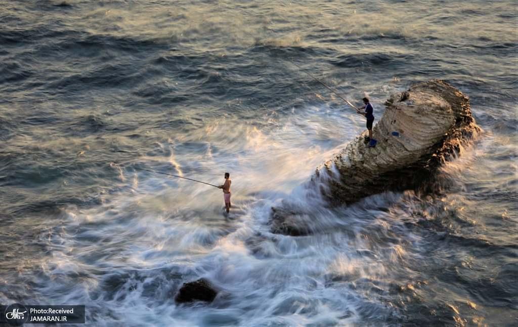 ماهیگیری در ساحل بیروت + عکس