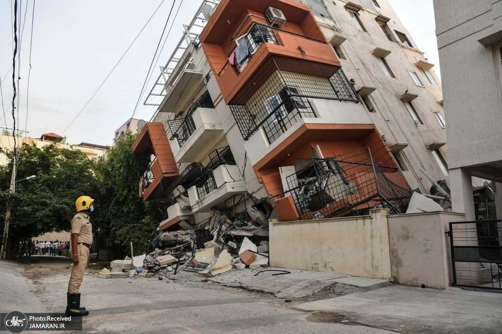 ریزش یک ساختمان چند طبقه در هند + عکس