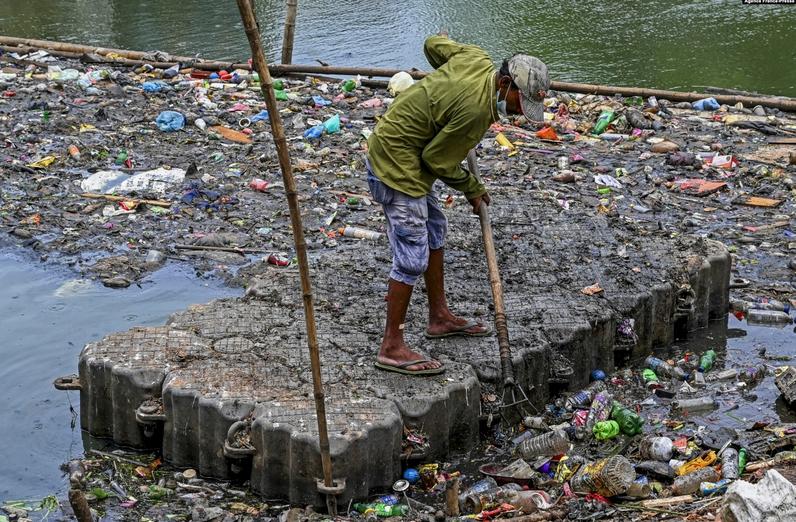 جمع کردن زباله ها از دریاچه ای در سریلانکا + عکس