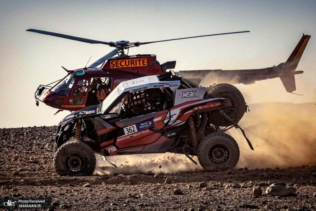 همراهی بالگرد با خودرو در رالی مراکش + عکس
