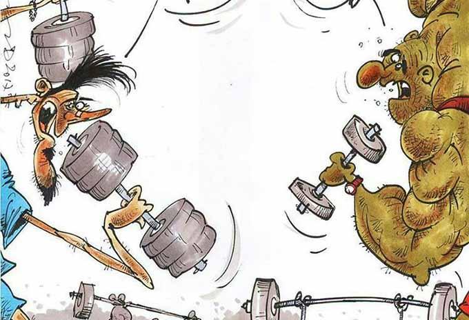 وضعیت کلاسهای بدنسازی در این روزها! /کاریکاتور