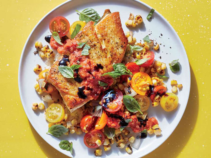 ماهی به همراه سبزیجات تابستانی
