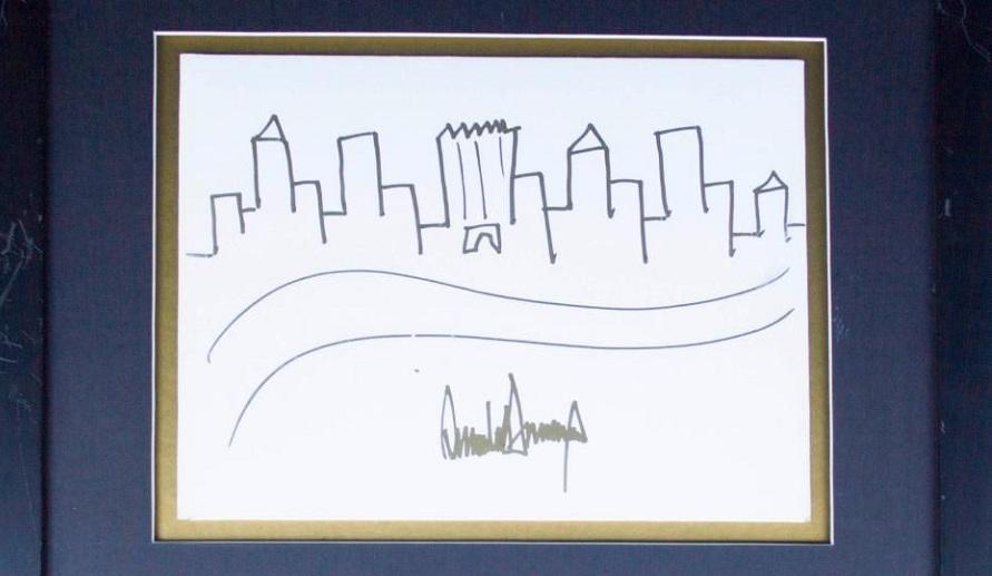 نقاشی بچه گانه دونالد ترامپ  از برج خودش که سی هزار دلار فروش رفت