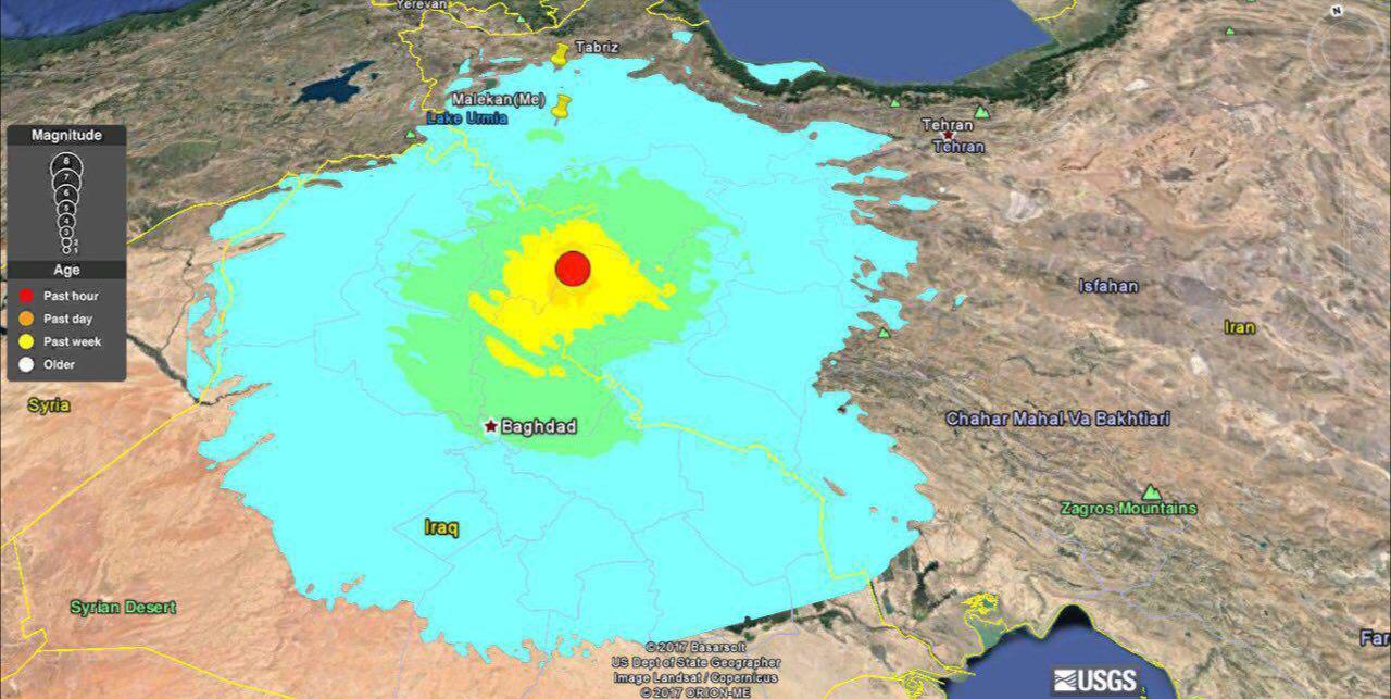 نقشه توزیع شدت زمین لرزه ساعتی پیش درمرز ایران وعراق