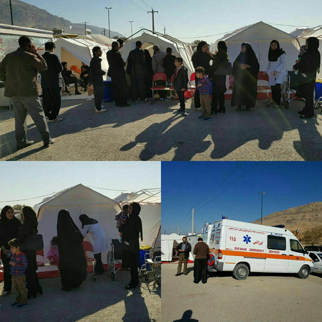 ویزیت بیماران توسط پزشکان در چادرهای امدادی کرمانشاه