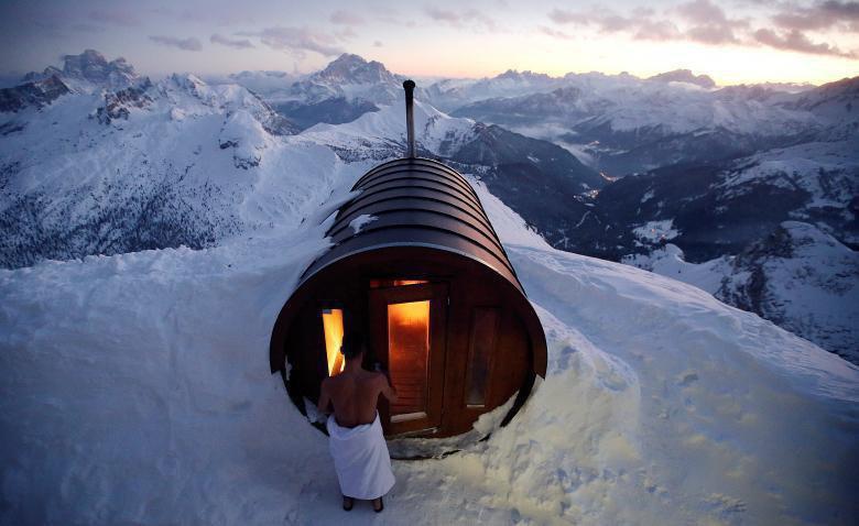 سونای خشک در دل کوههای برفی ایتالیا! + عکس
