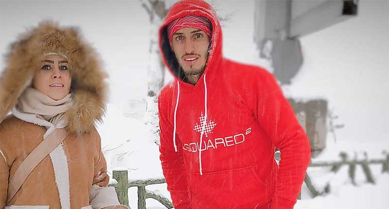 برف بازی ستاره تیم پرسپولیس به همراه همسرش! + عکس
