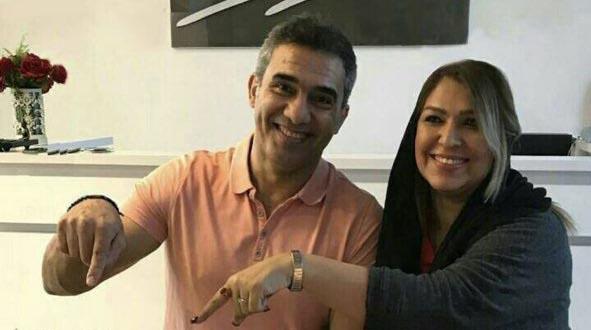 تیپ احمدرضا عابدزاده و همسرش در یک جشن تولد! + عکس
