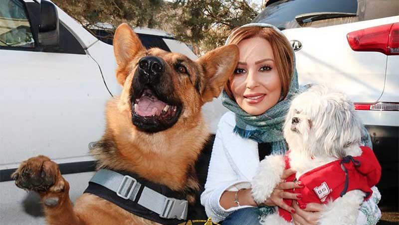 پرستو صالحی به همراه سگ خانگیاش! + عکس