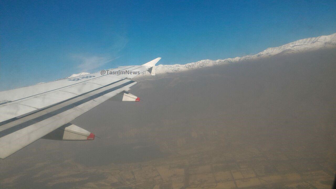 آلودگی هوای تهران از پنجره هواپیما + عکس