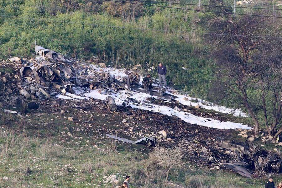 اولین تصاویر از جنگنده سرنگون شده اسرائیلی