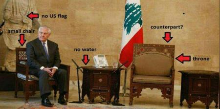 ببینید/ جدیدترین تصویر از تحقیر وزیرخارجه آمریکا در کاخ ریاست جمهوری لبنان