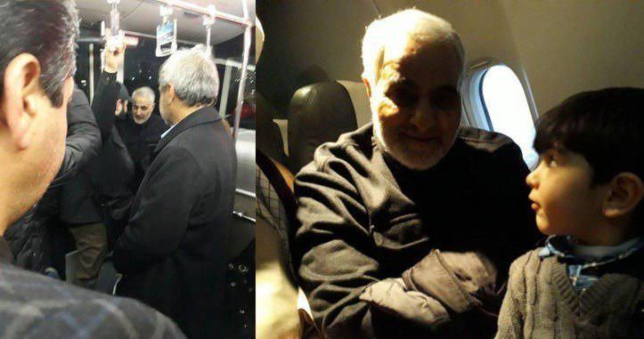 حضور بدون تشریفات قاسم سلیمانی در هواپیما! + عکس