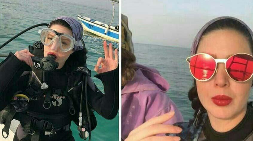 غواصی خانم بازیگر در دریا! + عکس