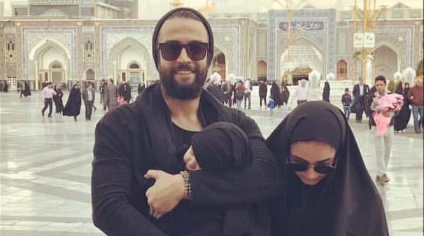 بنیامین و همسر و فرزندش در حرم امام رضا (ع) + عکس