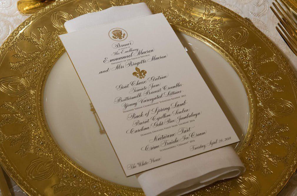 بشقاب طلای مکرون در شام رسمی کاخ سفید + عکس