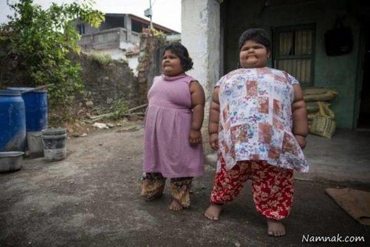 چاقترین خواهران دنیا با گرسنگی وحشتناک +تصاویر