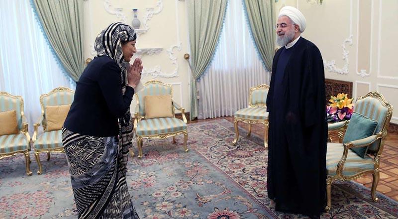 سلام خاص خانم سفیر به روحانی! + عکس