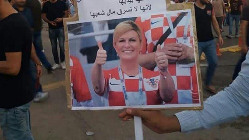 عکس رئیسجمهور کرواسی در دست تظاهرکنندگان عراقی! + عکس