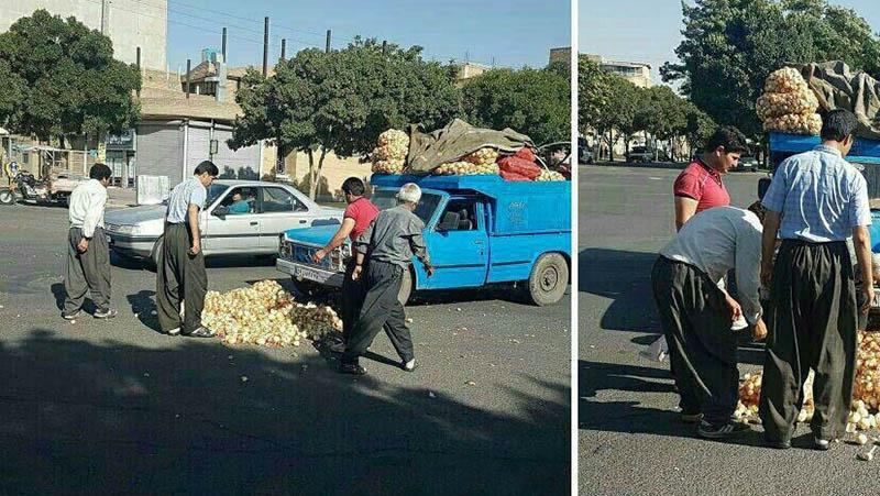 واکنش مردم به ریخته شدن بار نیسان در خیابان! +عکس