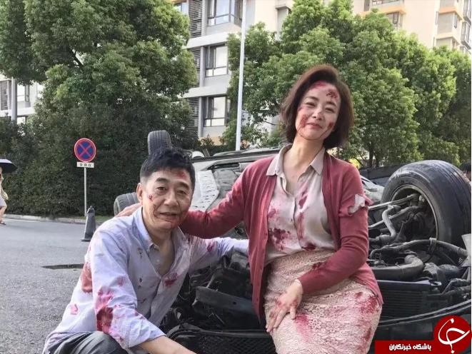 حرکت جالب زوج چینی پس از تصادف شدید! + عکس