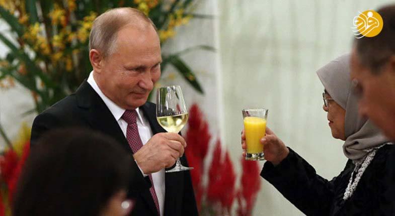 تفاوت نوشیدنی رئیس جمهور سنگاپور و پوتین + عکس