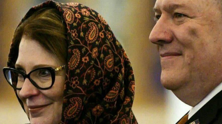 واکنش ها به روسری ایرانی همسر پمپئو + عکس