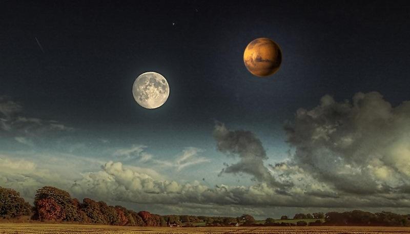 آسمان امشب میزبان همنشینی ماه با سیاره سرخ