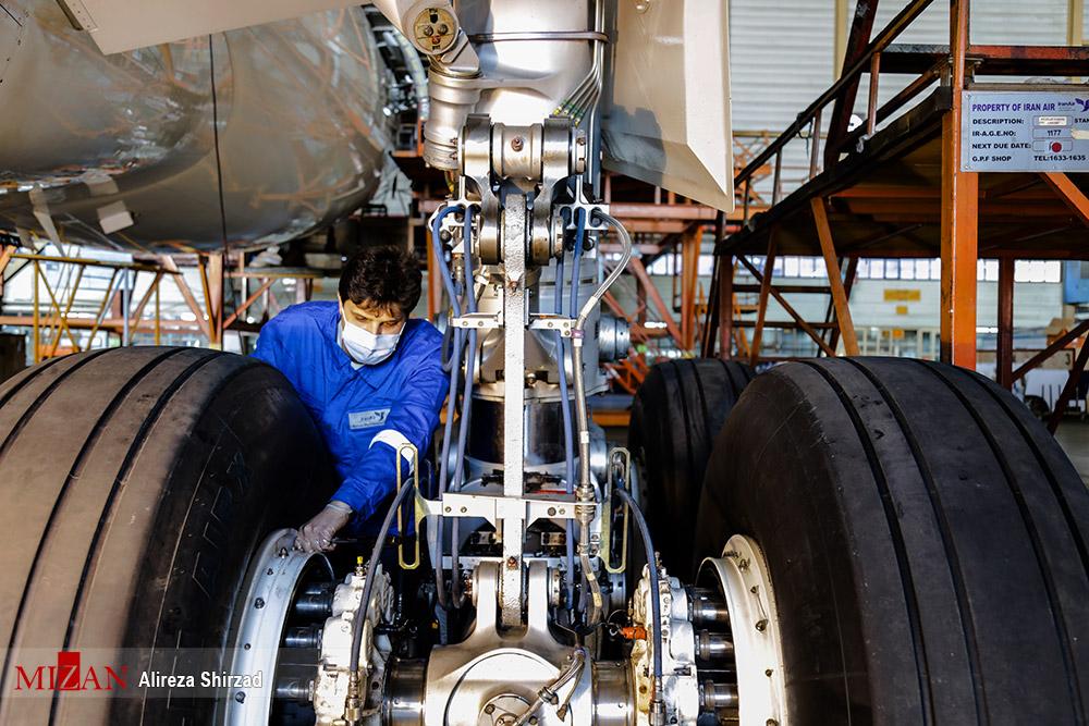 تعمیرات سنگین هواپیمای ایرباس ۳۳۰ ایران ایر + عکس