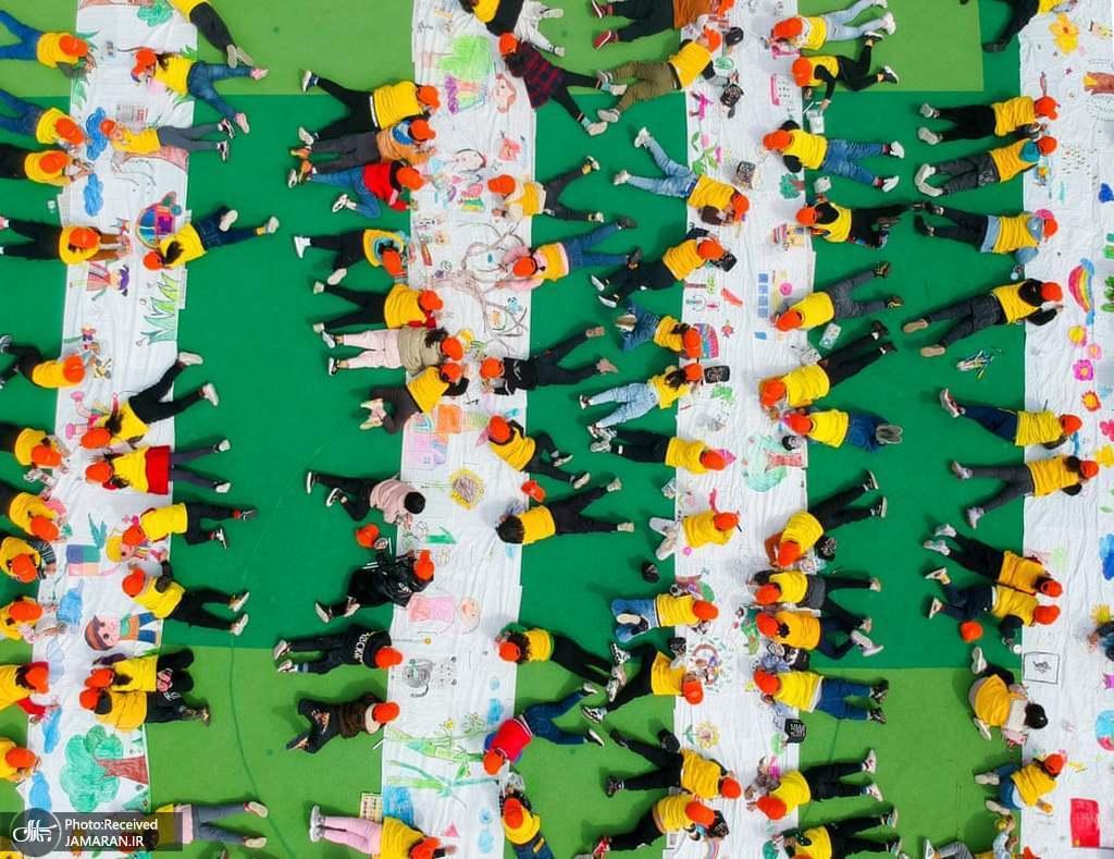تصویر هوایی از کودکان در مهد کودکی در چین + عکس