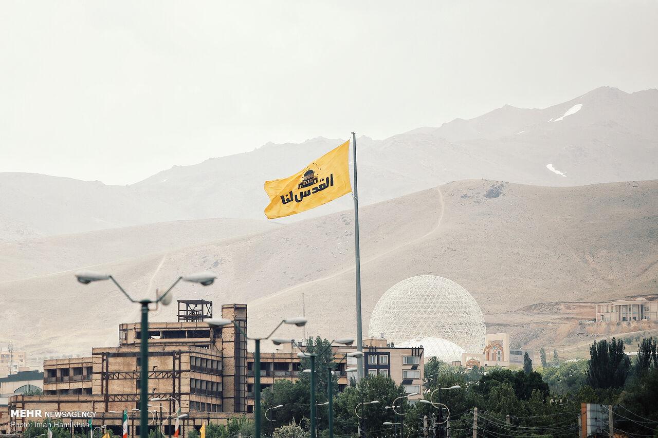 اهتزاز پرچم «القدس لنا» در همدان + عکس