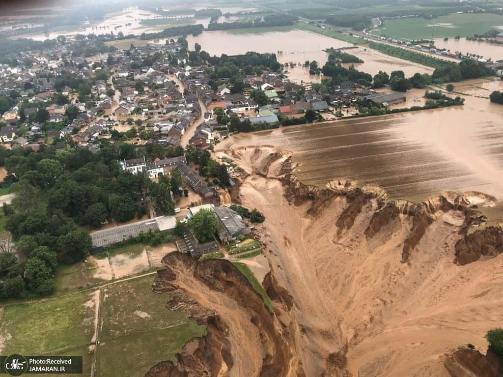 رانش زمین بر اثر بارندگی شدید و جاری شدن سیل در آلمان + عکس